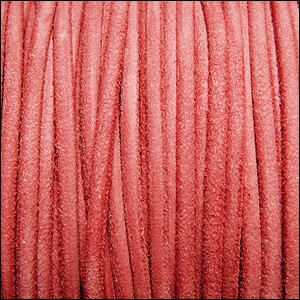 3mm round SUEDE Euro leather ROSE PINK - per 25m SPOOL