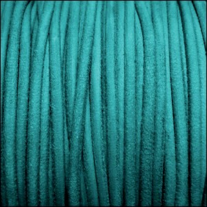 3mm round SUEDE Euro leather TURQUOISE - per 10 feet