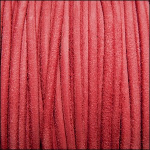 3mm round SUEDE Euro leather FADED RED - per 10 feet