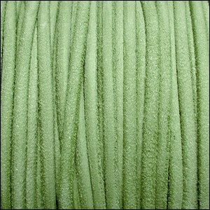 3mm round SUEDE Euro leather APPLE GREEN - per 10 feet
