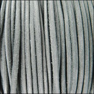 3mm round SUEDE Euro leather GREY - per 25m SPOOL