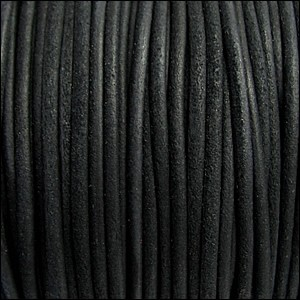 3mm round SUEDE Euro leather BLACK - per 25m SPOOL