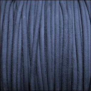 3mm round SUEDE Euro leather DENIM - per 25m SPOOL