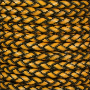 6mm round ITALIAN BRAIDED leather MUSTARD - per 1 meter