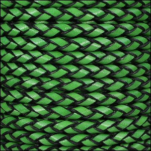 6mm round ITALIAN BRAIDED leather GREEN - per 1 meter