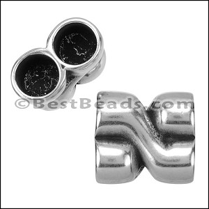 10mm round DOUBLE CONNECTOR bead ANT SILVER - per 5 pieces