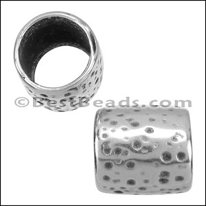 10mm round HAMMERED CYLINDER bead ANT SILVER - per 10 pieces