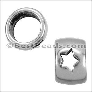 10mm round OPEN STAR bead ANT SILVER - per 10 pieces
