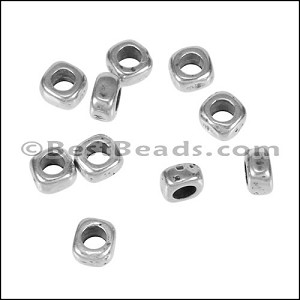 2.9mm round THIN SQUARE bead ANT SILVER - per 10 pieces