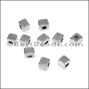 3mm round CUBE bead ANT SILVER - per 10 pieces