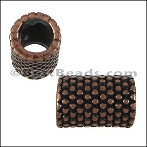 5mm round SMALL DOTS LONG BEAD bead ANT COPPER - per 10 pieces