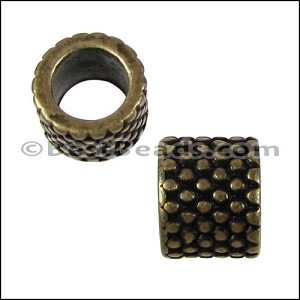 5mm round SMALL DOTS SHORT bead ANT BRASS - per 10 pieces