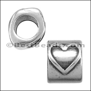 5mm round HEART bead ANT SILVER - per 10 pieces