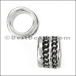 5mm round CHAIN STITCH bead ANT SILVER - per 10 pieces