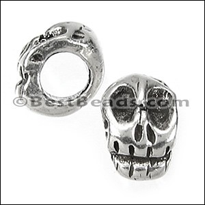 5mm round SKULL bead ANT SILVER - per 10 pieces