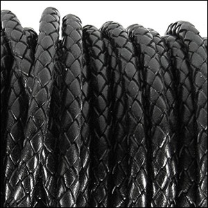 5mm round BRAIDED Euro leather BLACK - per 10 feet
