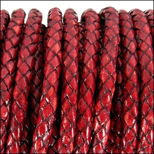 3mm round BRAIDED Euro leather DISTRESSED RED - per 20m SPOOL