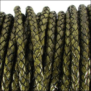 3mm round BRAIDED Euro leather DISTRESSED GREEN - per 10 feet