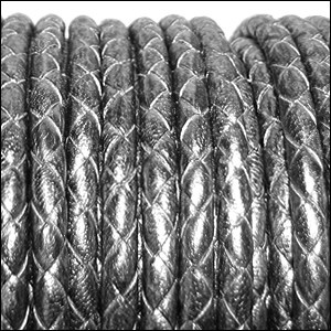 5mm round BRAIDED Euro leather METALLIC SILVER/BLACK - per 20m SPOOL