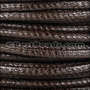 5mm round LIZARD PRINT STITCHED leather DK BROWN - per 10 feet