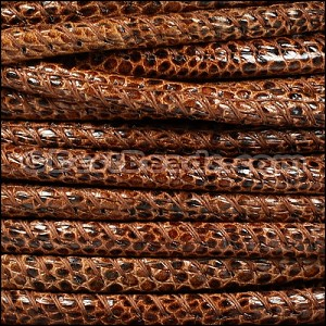 5mm round LIZARD PRINT STITCHED leather MED BROWN - per 10m SPOOL