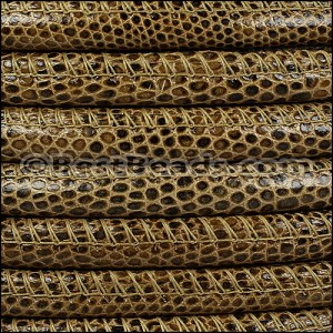8mm round LIZARD PRINT STITCHED leather LT BROWN - per 1 meter