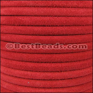 5mm Round SUEDE Leather RED - per 10 feet