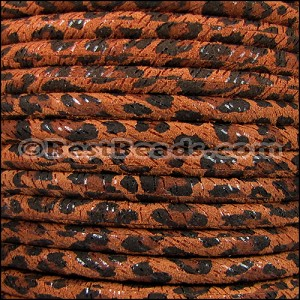 5mm Round SUEDE Leather TAN LEOPARD - per 20m SPOOL