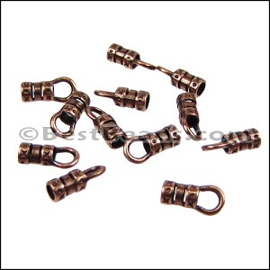 1mm Leather Crimp End with Loop ANT COPPER - per 72 pcs
