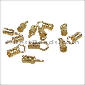 1mm Leather Crimp End with Loop GOLD - per 72 pcs