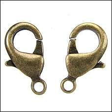15mm x 9mm Lobster Clasp ANTIQUE BRASS - per 100 pieces