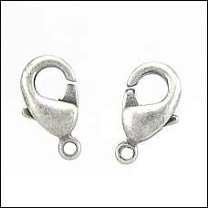 9mm x 5mm Lobster Clasp ANTIQUE SILVER - per 100 pieces