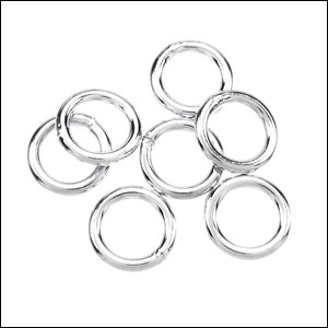 CLOSED jump ring 6mm per ounce SILVER PLATE