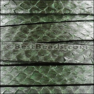 10mm flat SALMON leather GREEN - per 1 meter