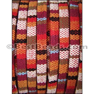 5mm flat Multi Cotton Cord RED/BROWN - per 10 meters