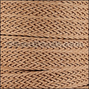 20mm BRAIDED BONDED flat leather NATURAL - per 2 meters