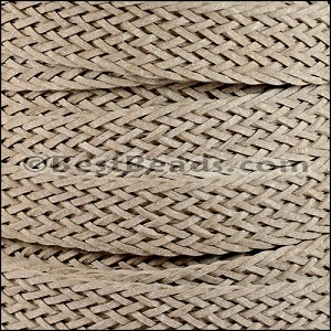 20mm BRAIDED BONDED flat leather BEIGE - per 2 meters