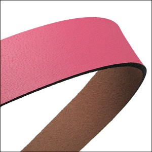 20mm flat leather PASTEL BUBBLE GUM - approx. 3 feet