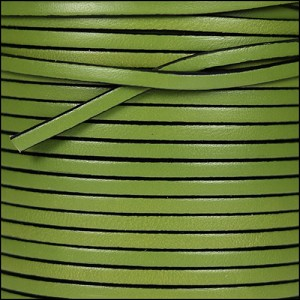 3mm flat leather OLIVE GREEN - per 5 meters