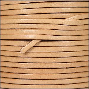 3mm flat leather NATURAL - per 25m SPOOL