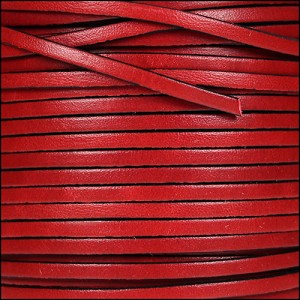 3mm flat leather RED - per 5 meters