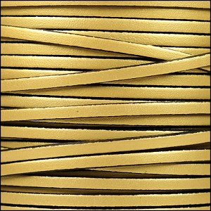 3mm flat leather METALLIC GOLD - per 5 meters