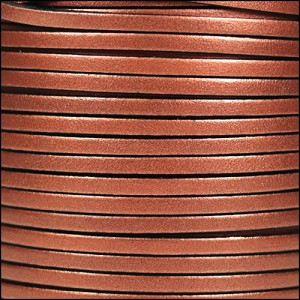 3mm flat leather ANT. COPPER - per 5 meters