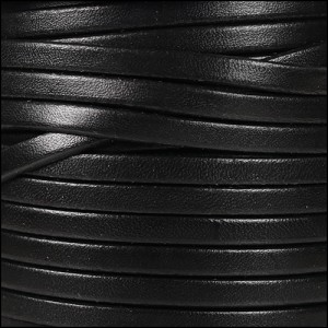 5mm flat leather BLACK - per 5 meters