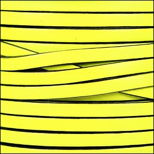 5mm flat leather NEON YELLOW - per 5 meters