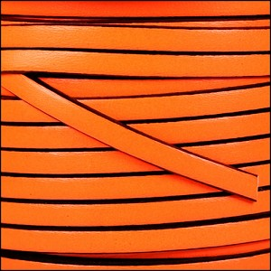 5mm flat leather NEON ORANGE - per 20m SPOOL