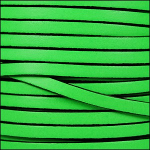 5mm flat leather NEON GREEN - per 5 meters