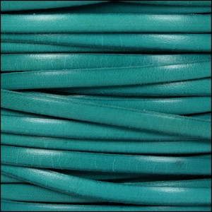 5mm flat leather DISTRESSED TURQUOISE - per 5 meters