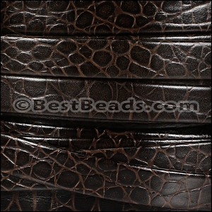 10mm flat AMAZON leather DARK BROWN - per 20m SPOOL