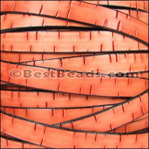 10mm flat BARK leather ORANGE - per 2 meters